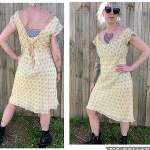 Vintage April Cornell Dress Sheer Overlay Floral M